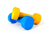 Two isolated dumbbells over white background. Computer generated image