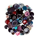 Pile of Vintage buttons from overhead isolated on white.