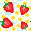 Abstract background with red strawberry and flowers. Seamless pattern. Vector illustration.