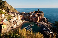 The Italian fishing village of Vernazza located withing the national park of Cinque Terre on the cost of Italy.