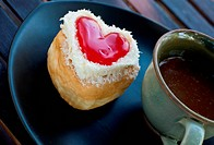 red heart shape of donut for valentine day