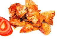 tasty roasted pieces of chicken on white