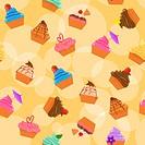 Seamless cupcakes background