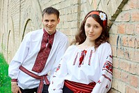 Young couple in Ukrainian national costumes