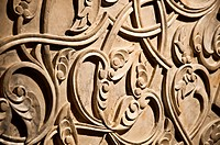 Detailed close up of a wall with Turkish style floral stone carving