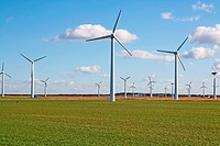 wind turbine producing renewable green energy and electricity no polution and co2.