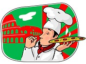 Illustration of an italian cartoon chef with a freshly baked pizza and Coliseum jn a background