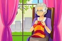 A vector illustration of a senior woman knitting