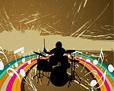 Rock group drummer. Vector illustration for design use.