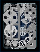 Background with gears technology construction gradient mesh