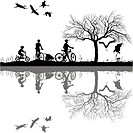 Illustration of a family on bicycles and their reflection in water