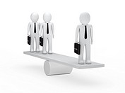 businessmen leader with briefcase balance on seesaw