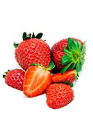 Fresh strawberry fruits on a white background