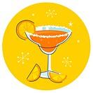 Orange retro drink with fruit. Vector cartoon Illustration.