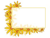 Floral frame decorated with yellow daisy blossoms
