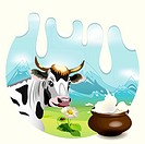 Illustration, cow on glade with daisywheel on background milk