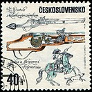 CZECHOSLOVAKIA _ CIRCA 1969: A stamp printed in Czechoslovakia shows antique pistol, circa 1969