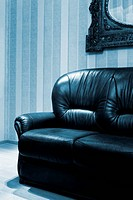 beautiful new leather sofa in modern apartment