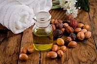 Argan oil with fruits in a natural atmosphere