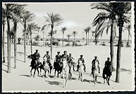Libya, Horseback patrol of Italian Financiers in oasis,1935.