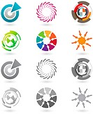 A set of modern and futuristic icons with full color and grayscale versions