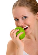 attractive healthy girl biting an apple isolated on white background