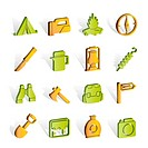 tourism and hiking icons _ vector icon set