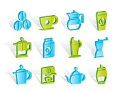 coffee industry signs and icons _ vector icon set