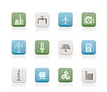 Power and electricity industry icons _ vector icon set