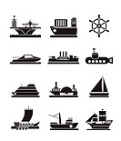 different types of boat and ship icons _ Vector icon set