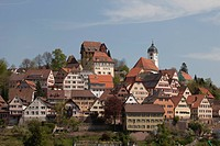Historische Meile route, historic district of Altensteig, Black Forest mountain range, Baden-Wuerttemberg, Germany, Europe