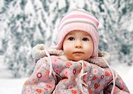 baby on the winter background