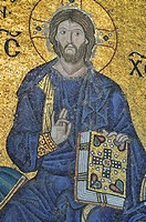 Mosaic of the blessing Jesus Christ, 12th century, south gallery, Hagia Sophia, Istanbul, Turkey, Europe