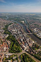 Aerial view, old town island, Weser river, Bremen, Germany, Europe