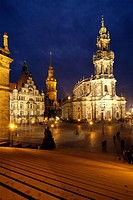 Hofkirche and Palace at Theaterplatz, Dresden, Saxony, Germany, Europe