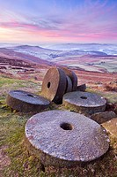 Stanage Edge wheelstones millstones and frosty winter moorland sunrise, Peak District National Park, Derbyshire, England, United Kingdom, Europe