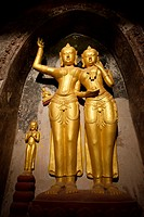 Golden Buddha statues at Abeyadana Pahto temple in Bagan  Myanmar