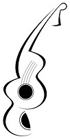 Stylized abstract guitar tattoo - black image on white background  Can be used as company logotype