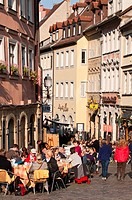 Outdoor cafe in Bamberg, UNESCO World Heritage Site, Bavaria, Germany, Europe