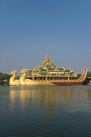 Karaweik Barge, Kandawgyi Lake, Yangon Rangoon, Myanmar Burma, Asia
