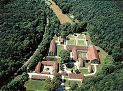 Aerial view of the Benedectine Abbey of Fontenay (UNESCO World Heritage Site, 1981) - Montbard, Burgundy, France.