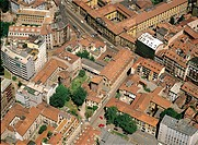 Aerial view of the Monastero Maggiore (Great Monastery) in Milan - Lombardy Region, Italy
