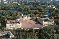 Aerial view of the Great Gatchina Palace, 18th-19th century - Surroundings of Saint Petersburg, Russia