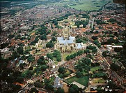 Aerial view of Lincoln Cathedral - Lincolnshire, England, United Kingdom