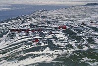 Aerial view of Argentina's Marambio research station, Seymour Island - Antarctica
