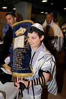 Bar Mitzvah, Jewish coming of age ritual, Torah scroll is taken back to the cabinet, Western Wall or Wailing Wall, Old City of Jerusalem, Arab Quarter...