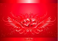 Winged two hearts red emblem