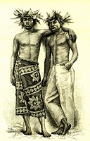 Tahitian men, Tahiti, French Polynesia, historical illustration, 1869