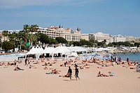 The beach of Cannes, Côte d'Azur, France, Europe