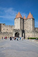 The turrets at the main entrance into medieval city of La Cite, Carcassonne, UNESCO World Heritage Site, Languedoc_Roussillon, France, Europe